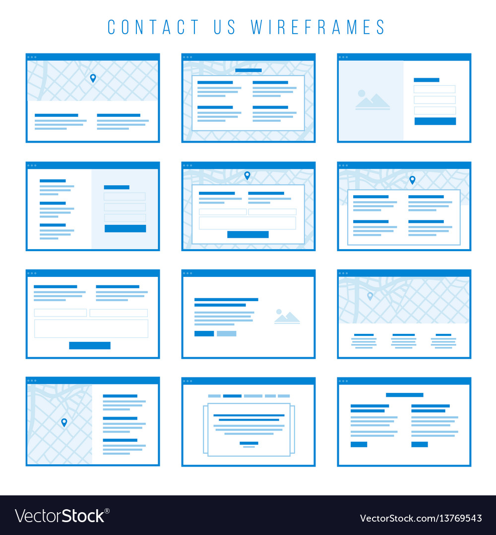 Contact us wireframe components for prototypes
