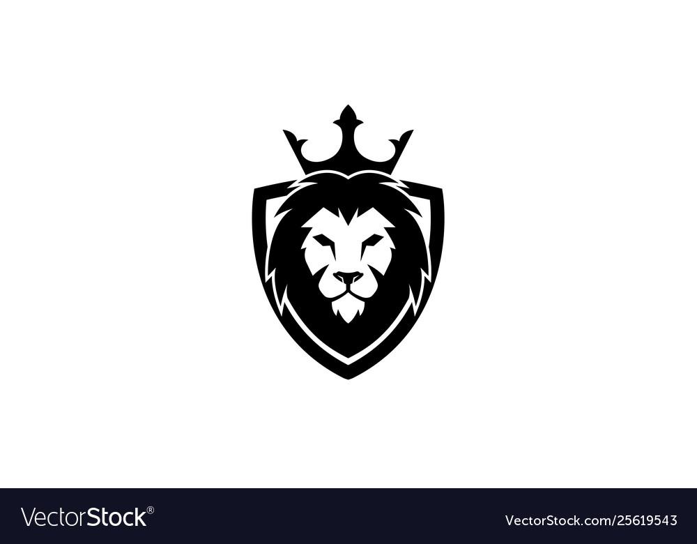 Creative black lion head crown king shield logo