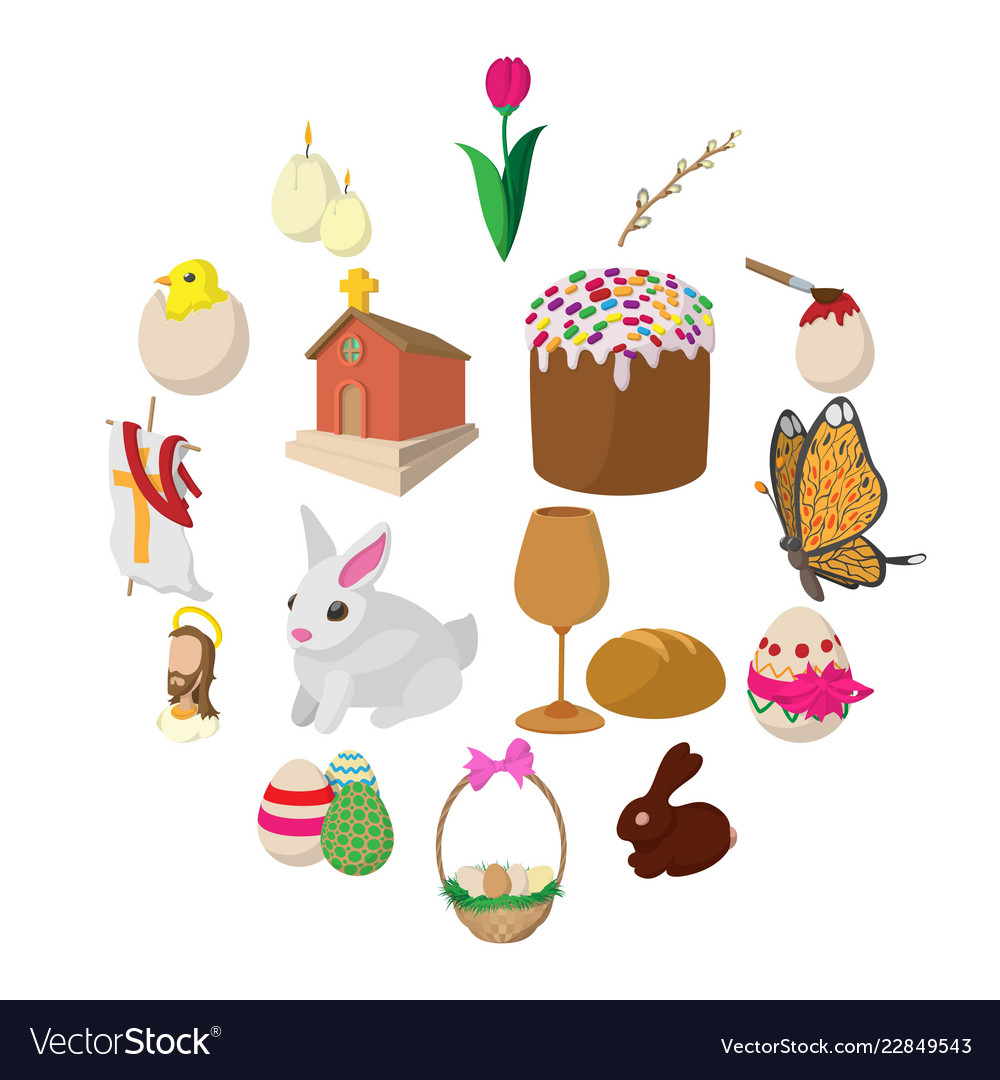 Easter cartoon icons