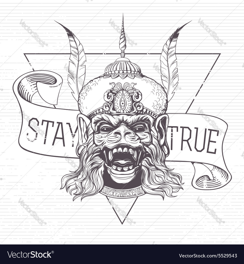 Hanuman Grunge print