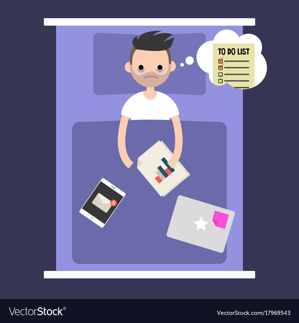 Modern nightmare conceptual insomnia young man vector image