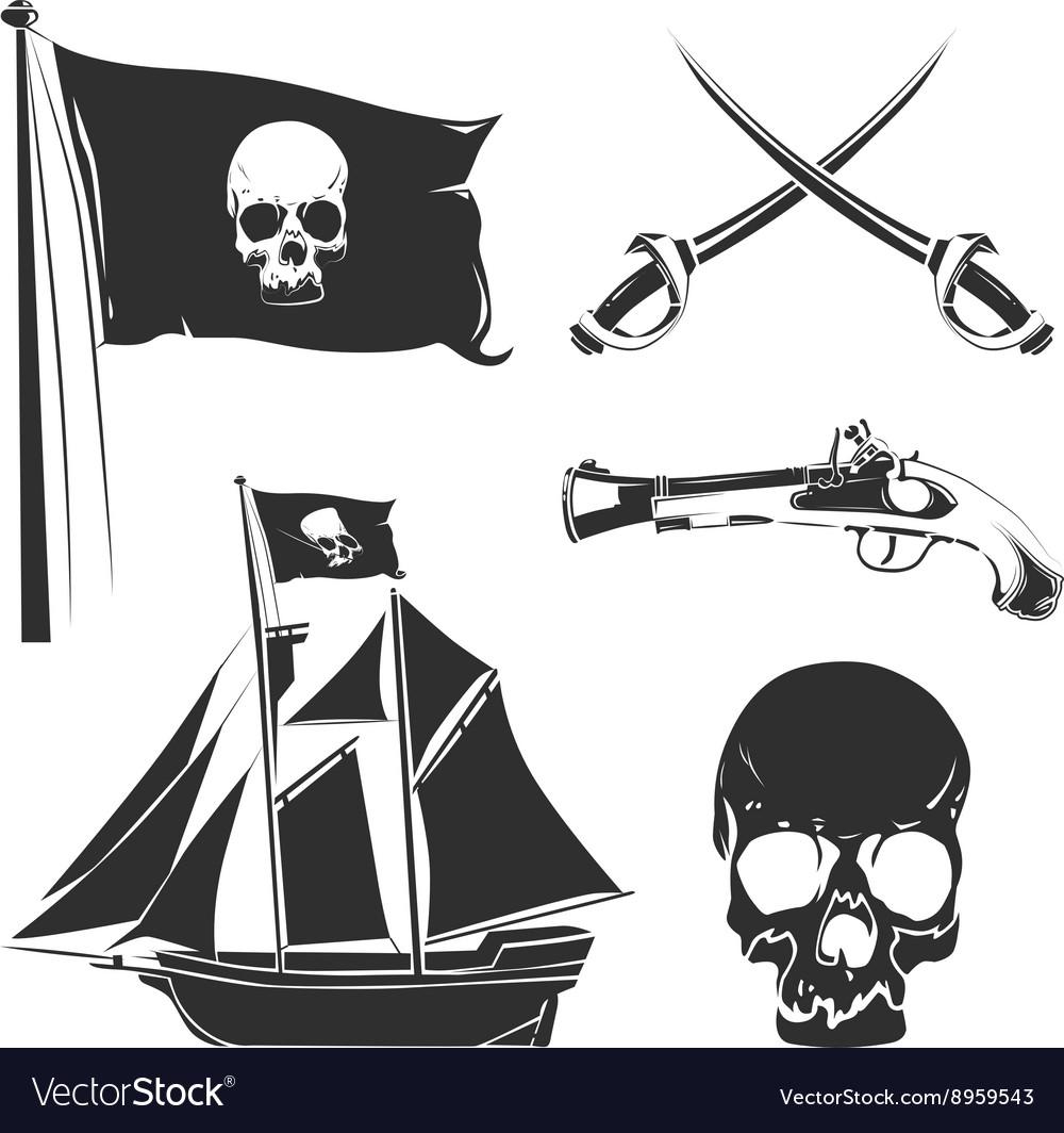 Pirate elements for vintage logo labels