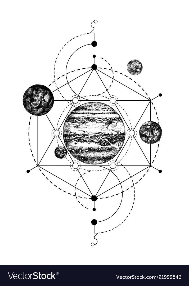 Sacred geometry background with jupiter