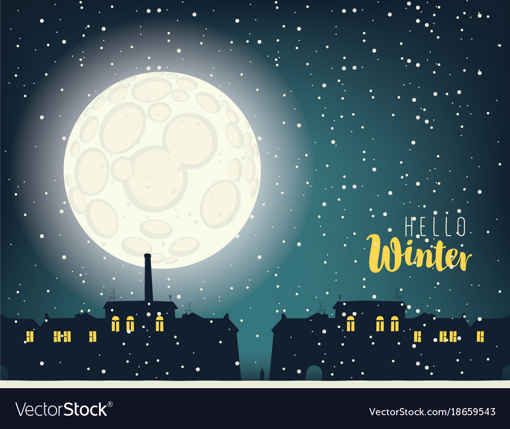 Winter night cityscape with full moon and houses