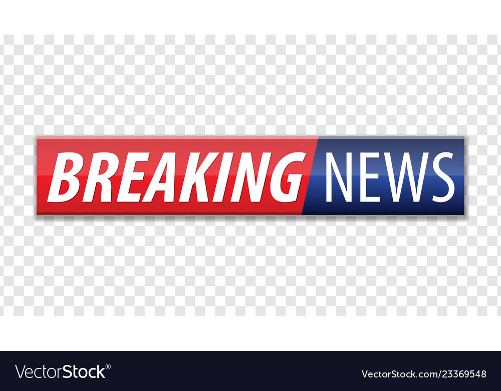Breaking news red blue banner with white text