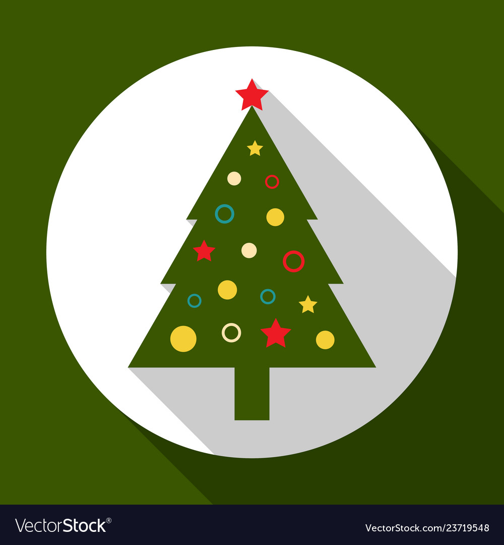 Christmas tree on green background with long