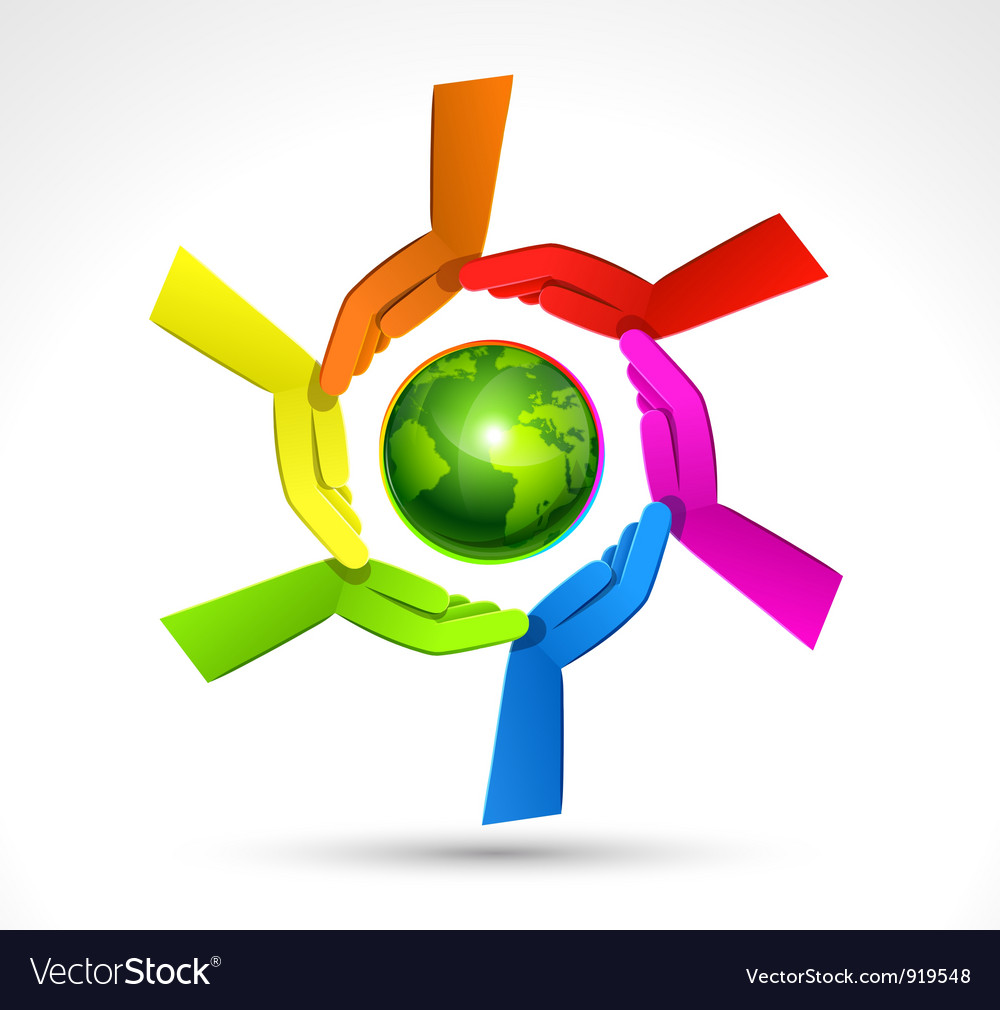 Color hands surrounding the earth globe vector image
