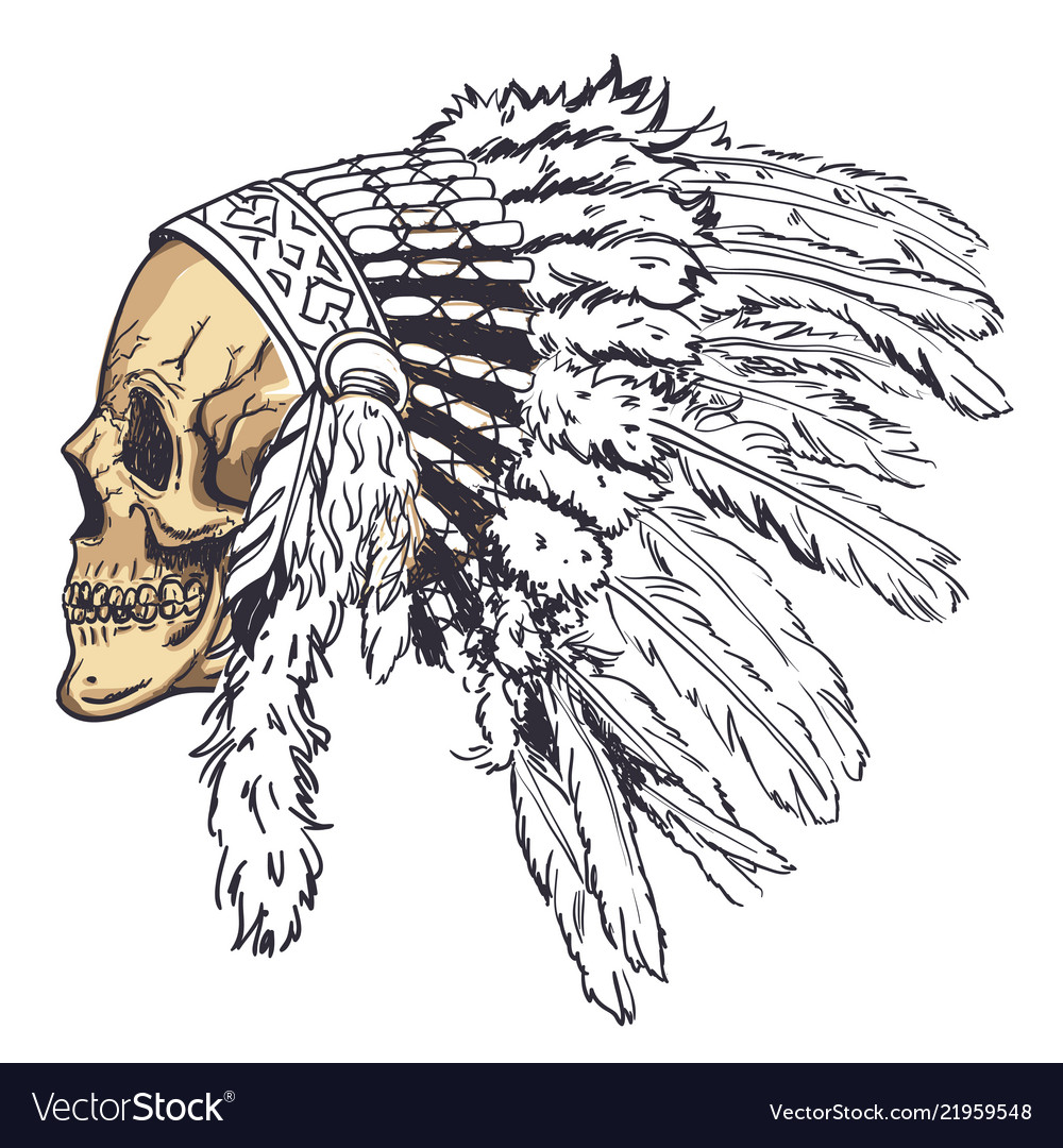 Dotwork style skull with indian feather hat