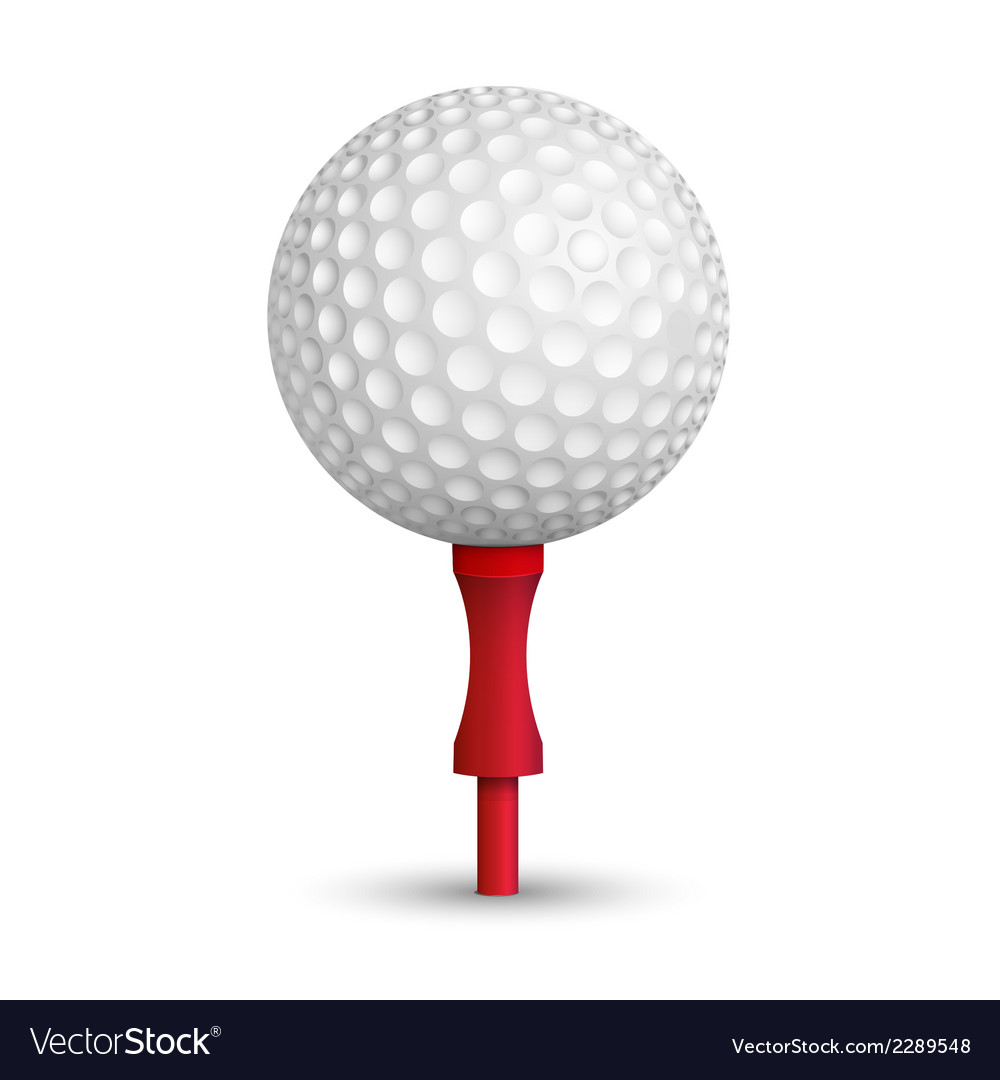 Golf ball on red stand