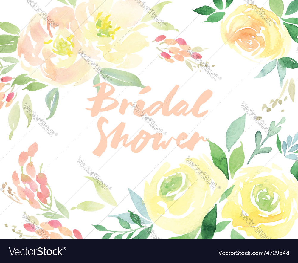 Invitation card with watercolor flowers Bridal