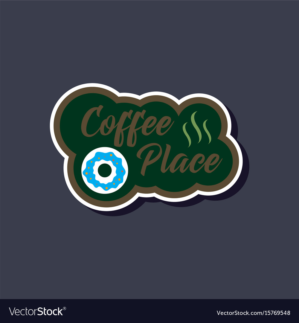 coffee break cafe with hot and cold drinks emblem