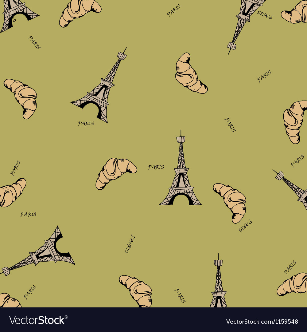 Paris seamless pattern with eiffel tower and