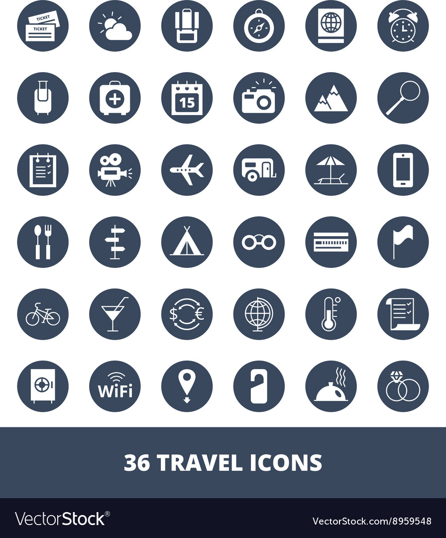Set of web icons Travel and tourism vector image