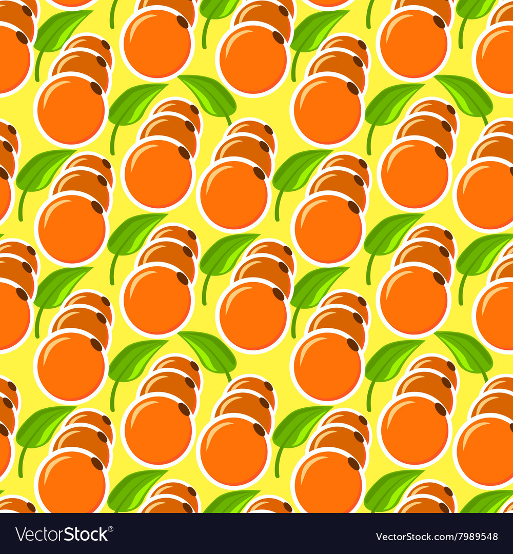 The pattern with oranges and leaves