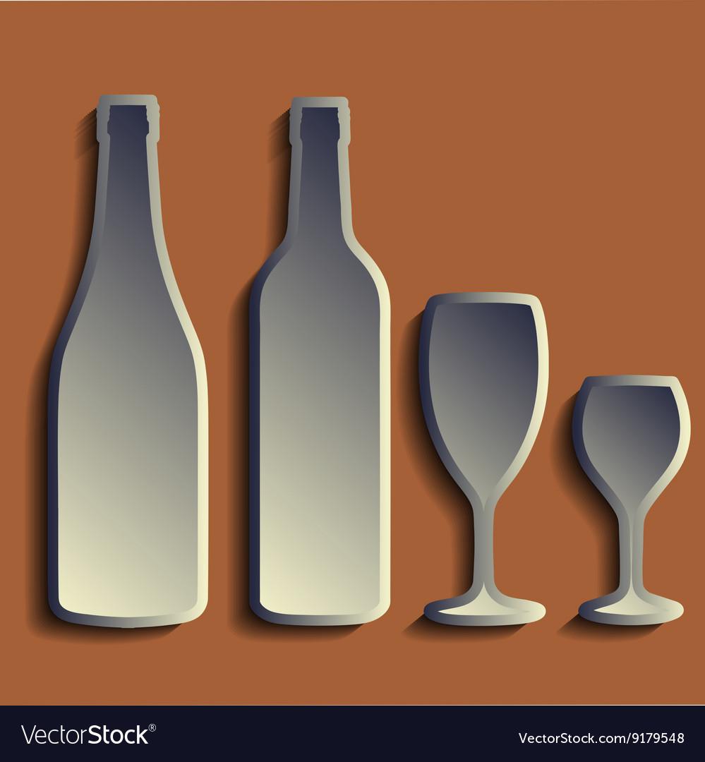 Wine bottle sign set bottle icon crockery