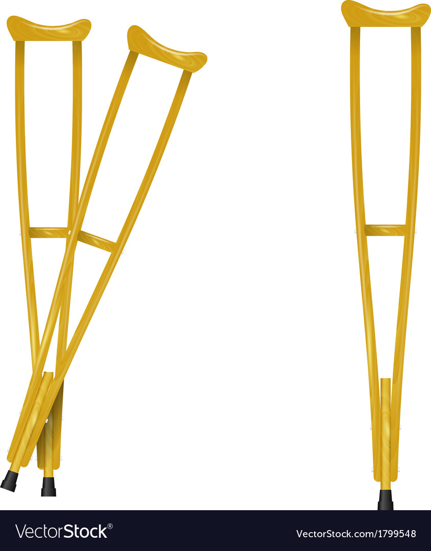 Wooden crutches on white background