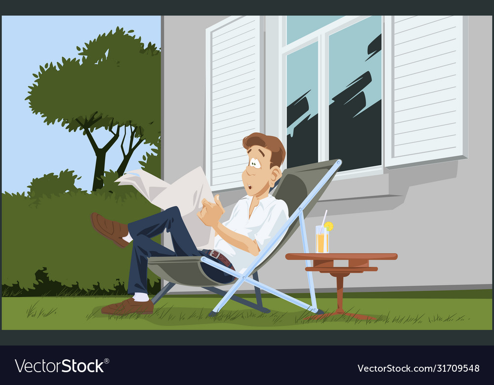 Young man reading newspaper guy in deck chair