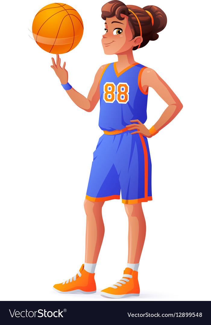 Young pretty basketball player girl