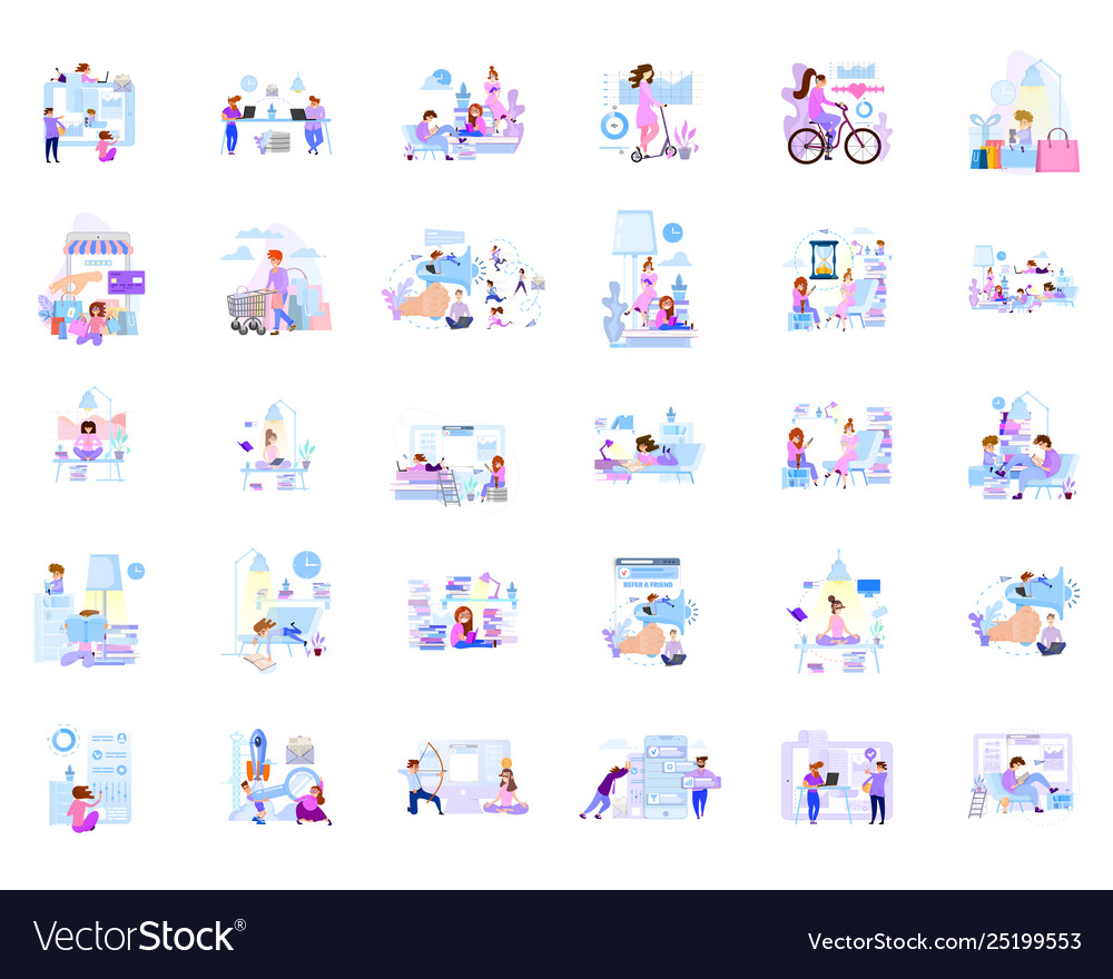 A large set business scenes characters in