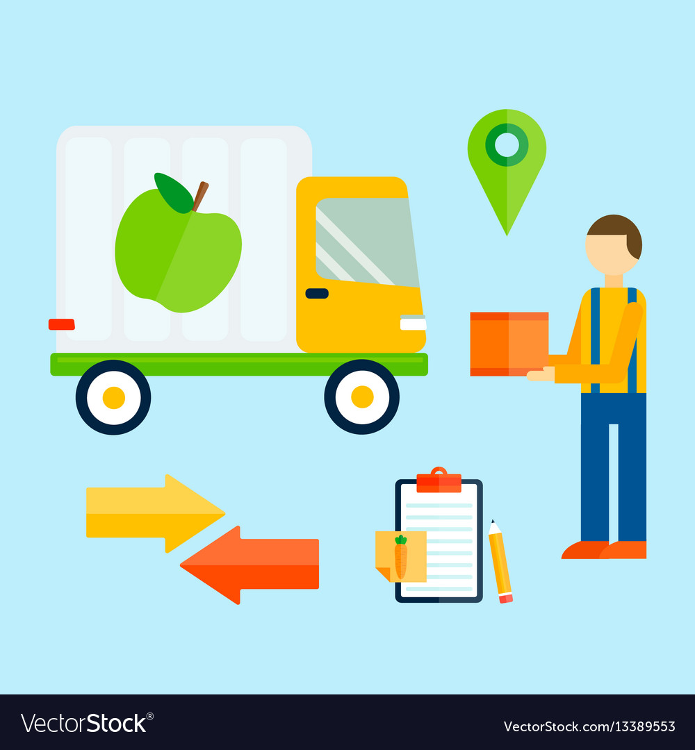 Delivery transport cargo truck and shipping icons