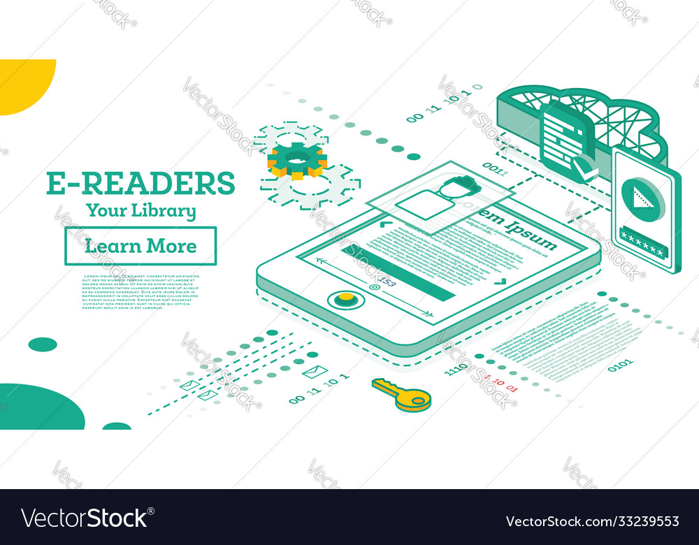 E book reader isometric online education concept