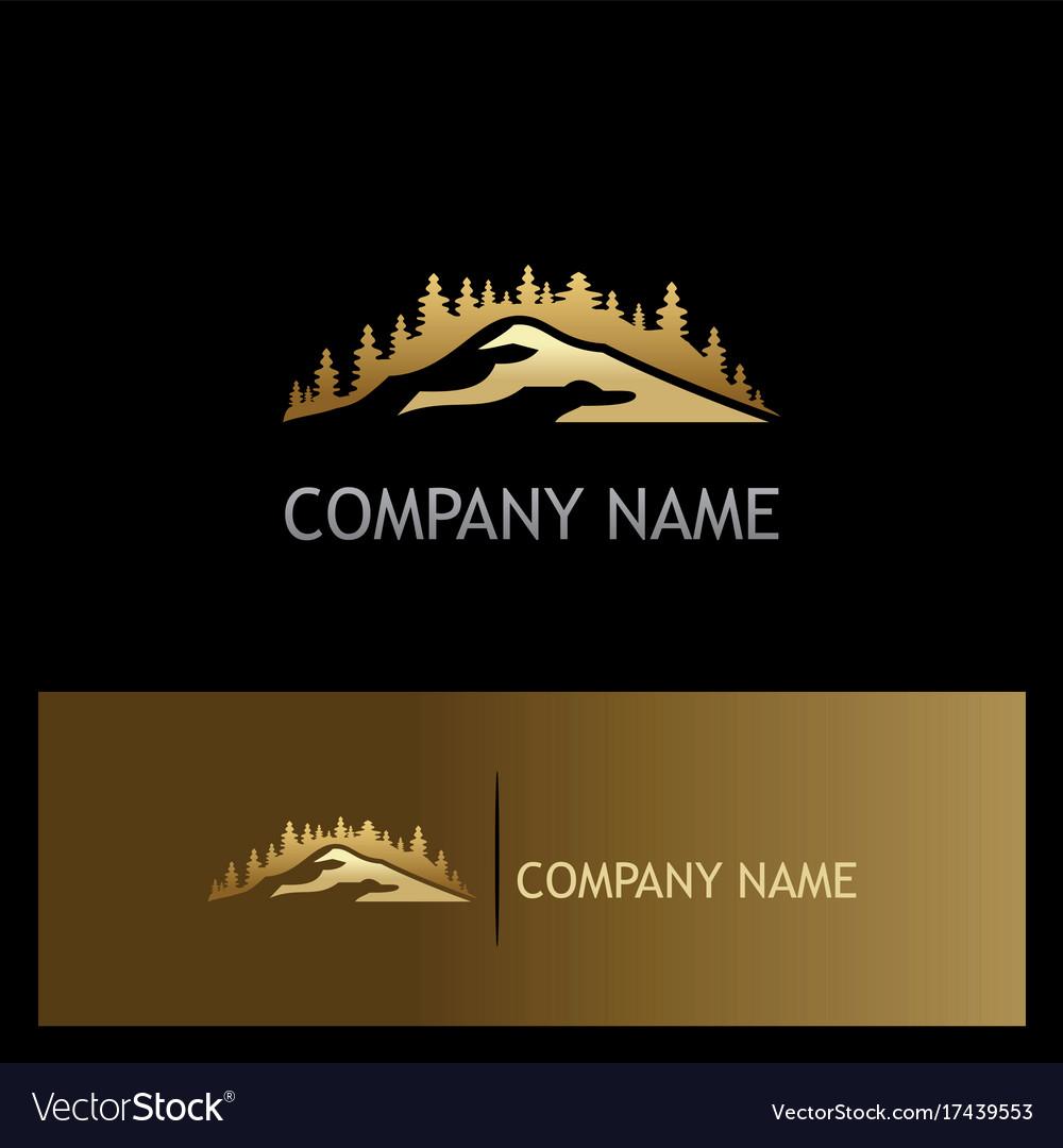 Gold pine tree mountain logo