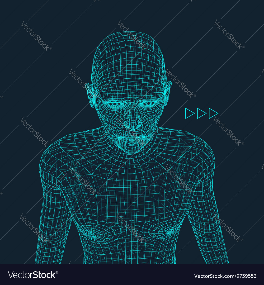 Head of the Person from a 3d Grid Geometric Face
