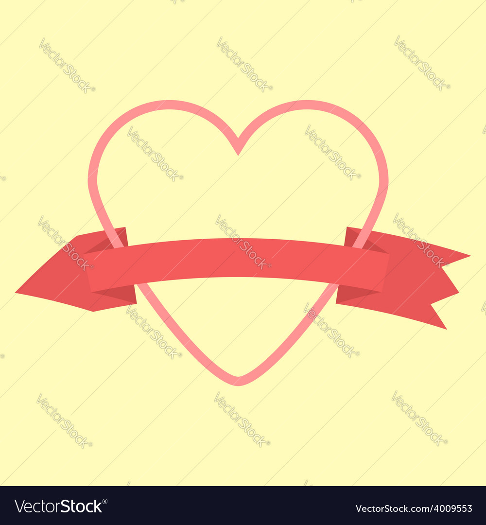 Outline heart and curved arrow-ribbon icon