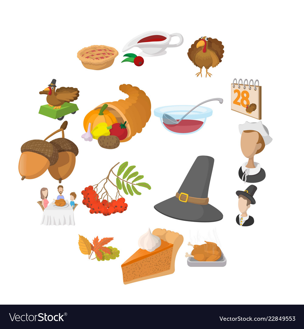 Thanksgiving day cartoon icons