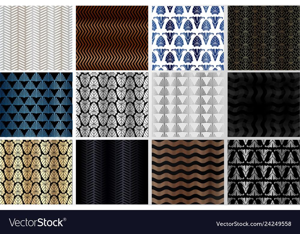 Art deco patterns set golden backgrounds fan