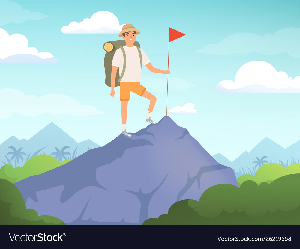 Camping characters hiking background people