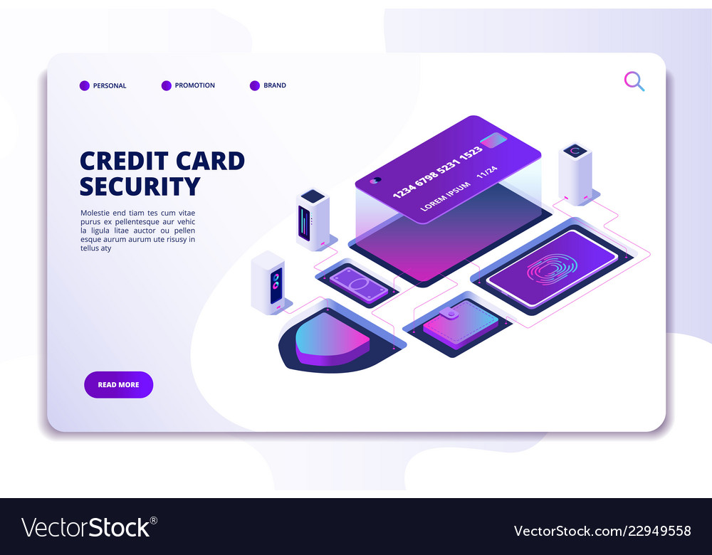 Credit card security isometric concept safety