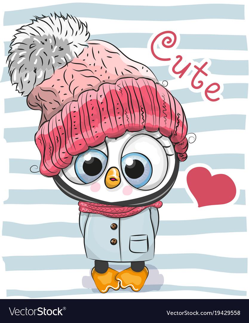 042f7219da7dbf Cute cartoon penguin girl in a hat Royalty Free Vector Image