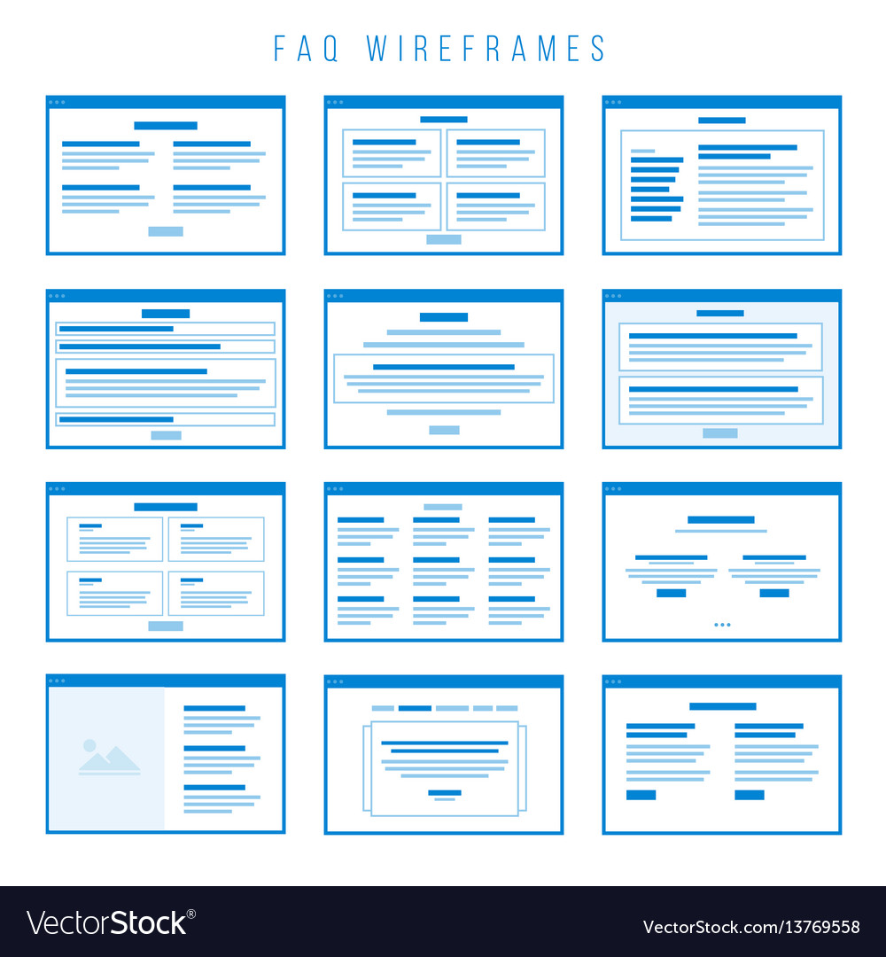Faq wireframe components for building prototypes