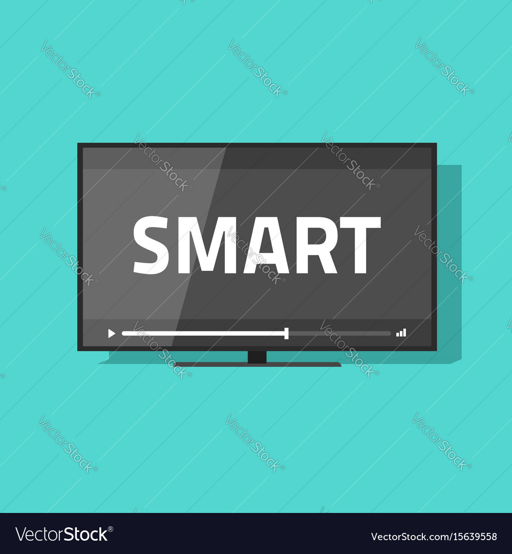 Flat screen smart tv with video icon led
