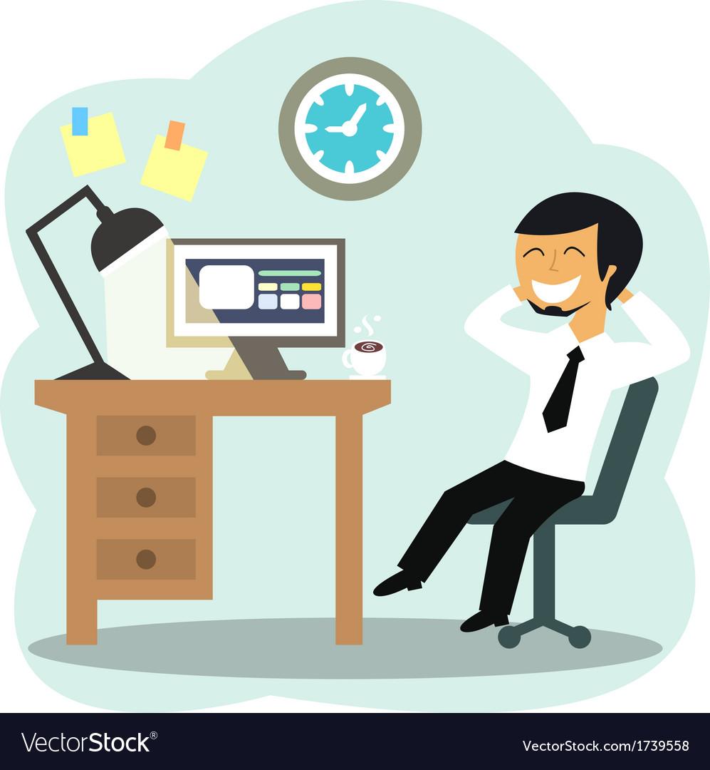 Happy Office Worker Royalty Free Vector Image Vectorstock
