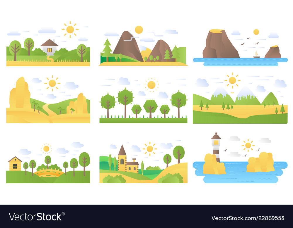 Landscape cartoon flat concept nature icons