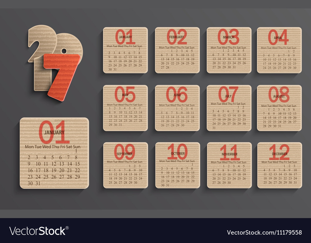 Modern calendar 2017 in a paper official style vector