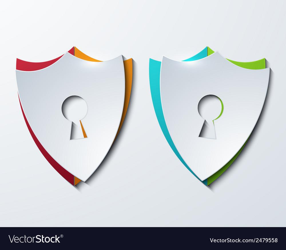 Modern shield set on sample background vector image