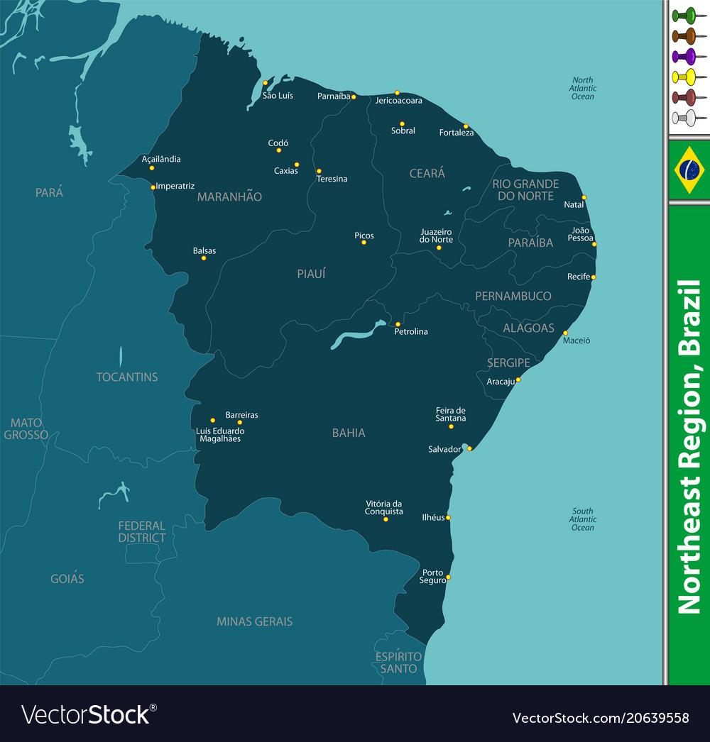 Northeast region of brazil vector image on VectorStock