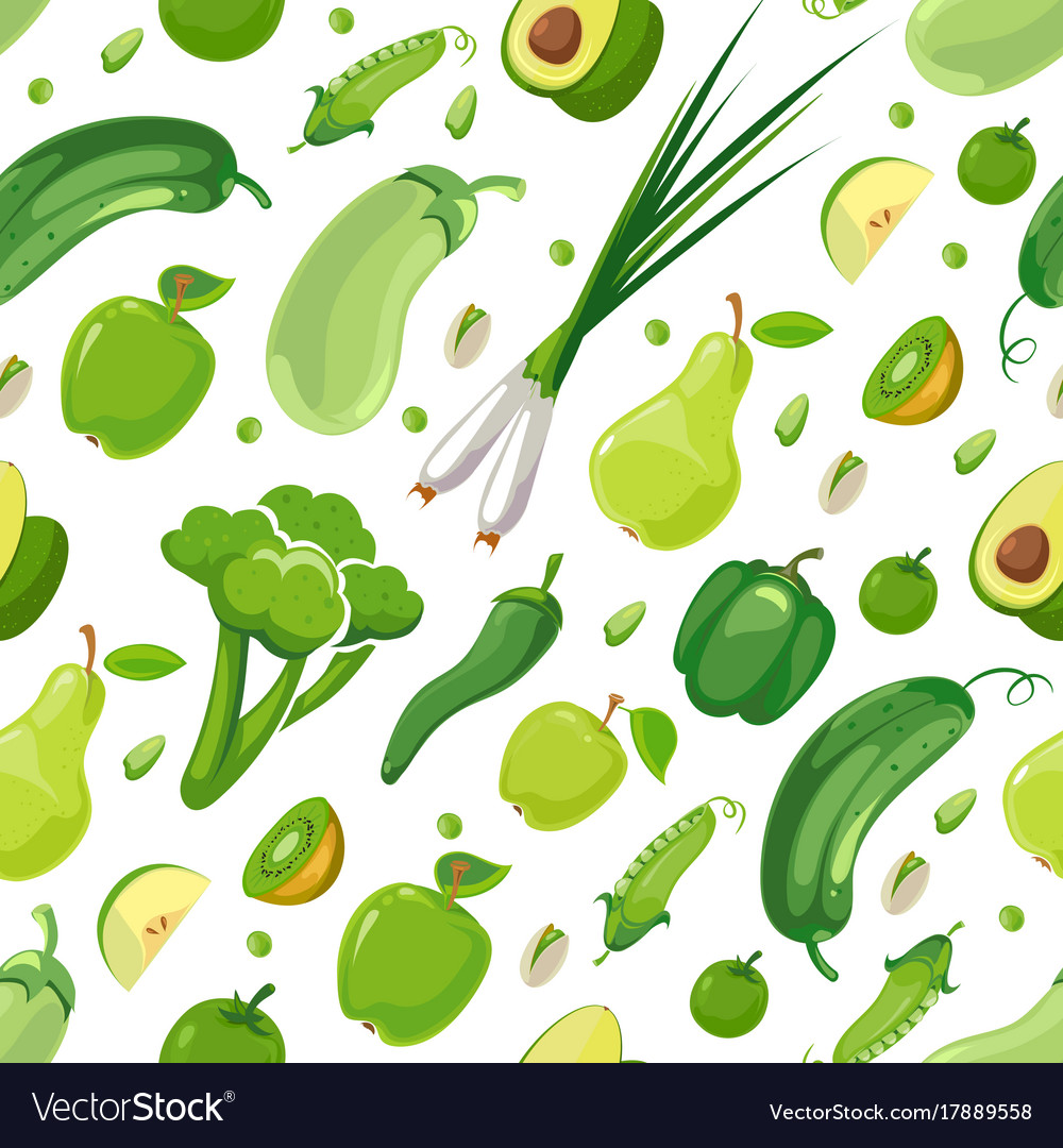 Seamless pattern with green vegetables and fruits