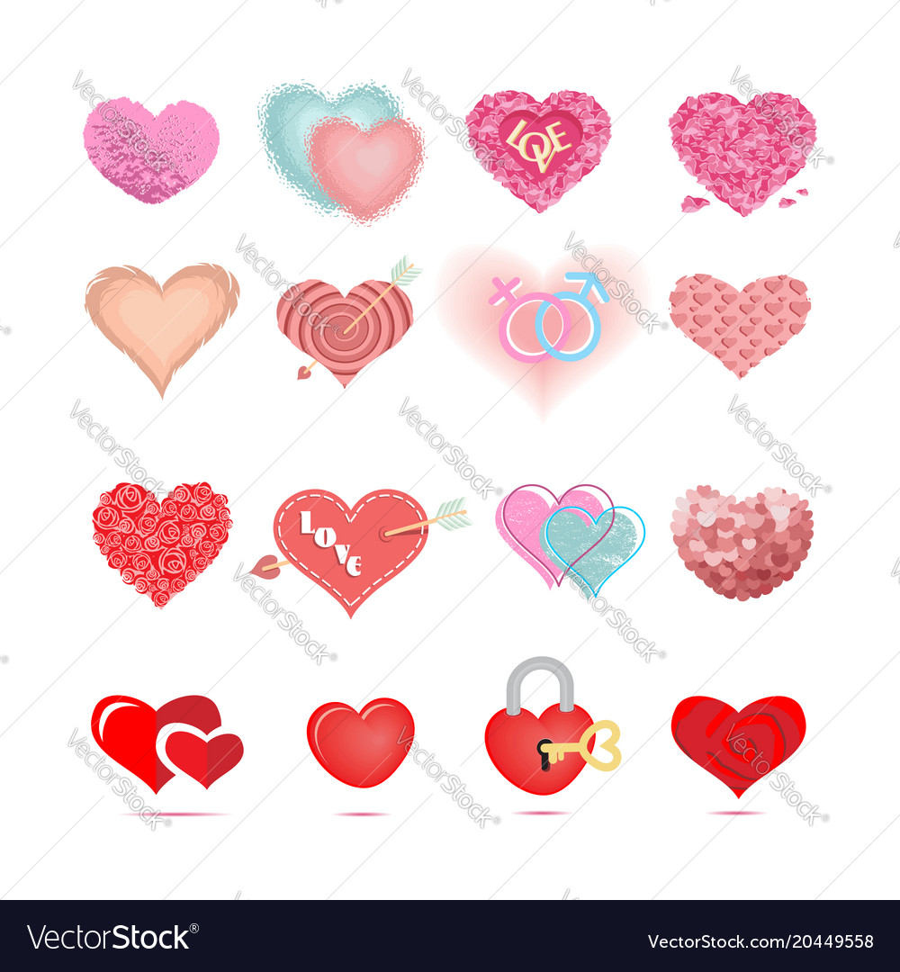 Set of colored hearts in different shapes and