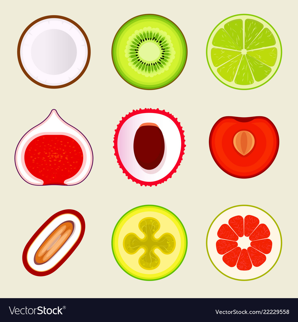 Set of flat fruit and vegetables colored simple