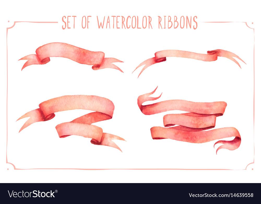 Set watercolor ribbons