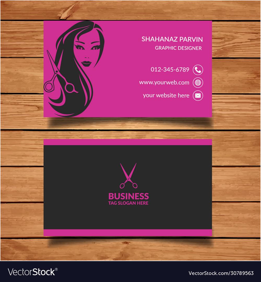 Beauty Salon Business Card Design Templates Vector Image
