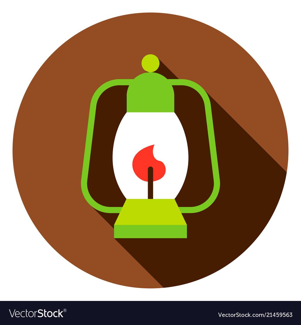 Camping lantern circle icon