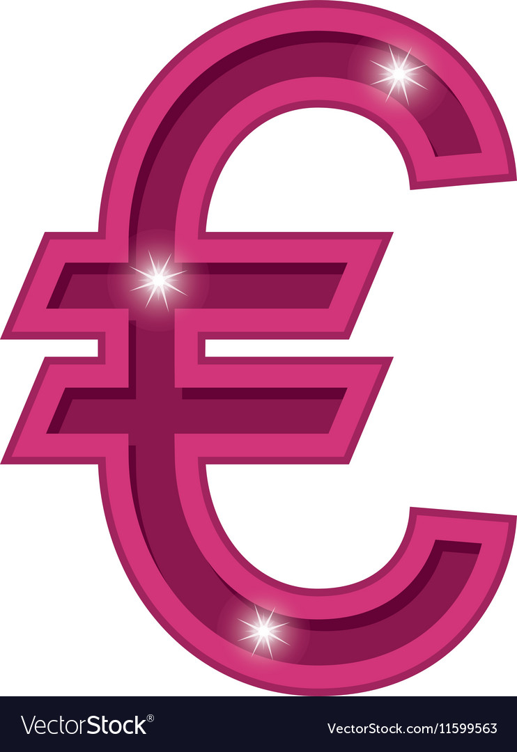 Color silhouette with currency symbol european vector image