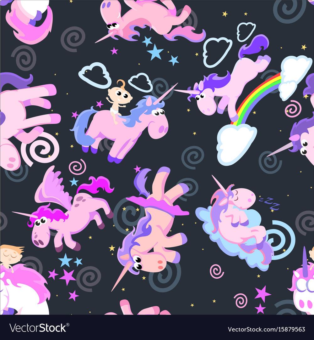 Cute unicorn seamless pattern magic pegasus