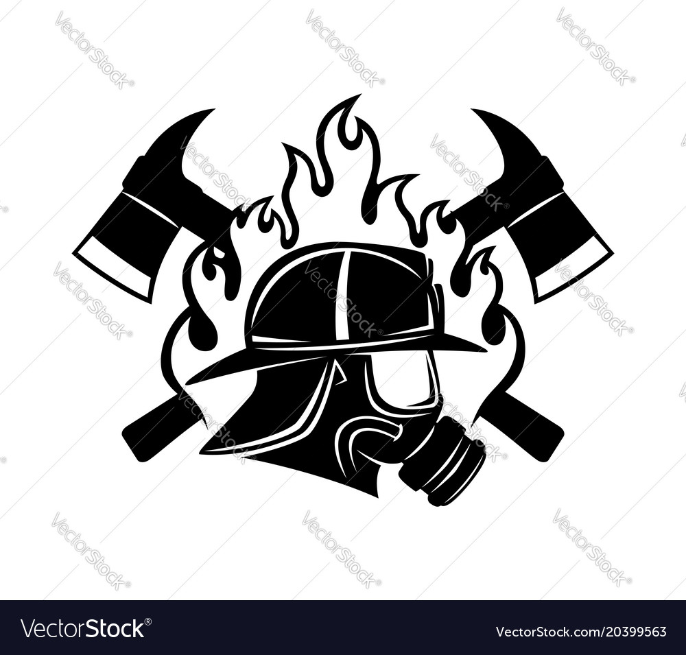 Firefighter and axes vector image