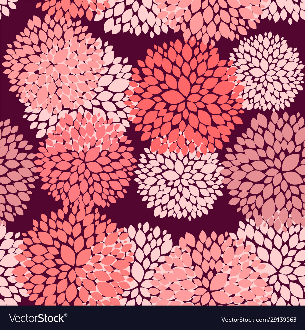 Floral seamless background in coral and burgundy